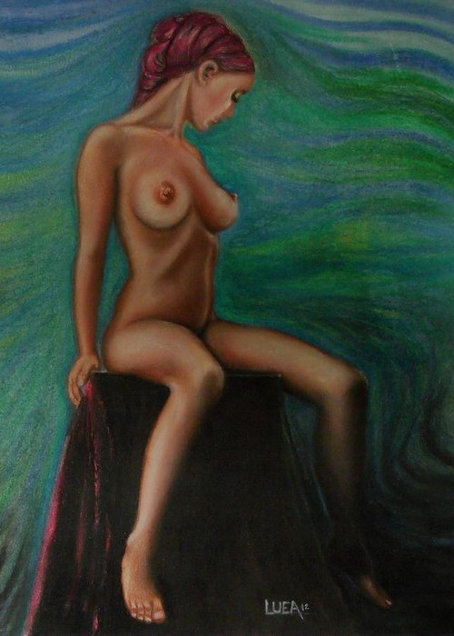 Woman Girl Female Figurative Nude Realism Surreal Blue Green Red Figure Study Studio Portrait Painting Pastel Drawing Feminism Daydreaming Profile Figures People Fine Art Colorful Beautiful Image Beauty Pink Images Color Contemporary Picture Natural Imagery Pictures Decorative Light Expressive Pretty Vibrant Strokes Background Prints Bright Lines Texture Vivid Romantic Print Canvas Modern Art Gallery Decor Usa Abstract Indoor Outdoor Still Life Delicate Intense Tasteful Skin Tone Bandana Head  Greeting Card featuring the painting Daydreaming In The Studio Series #2 by Neal Luea