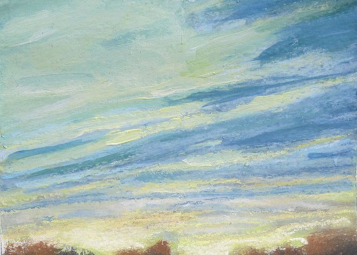 Landscape Greeting Card featuring the painting Day's Beginning by Mary Brooking