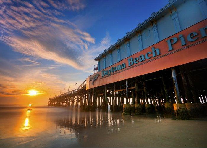 Beach Greeting Card featuring the photograph Daytona Sunrise by Ryan Heffron