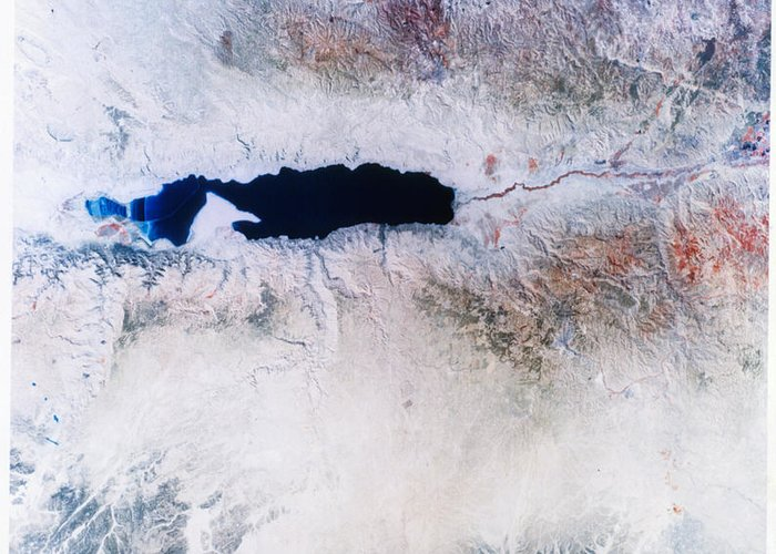 Dead Sea Greeting Card featuring the photograph Dead Sea From Space by NASA / Science Source
