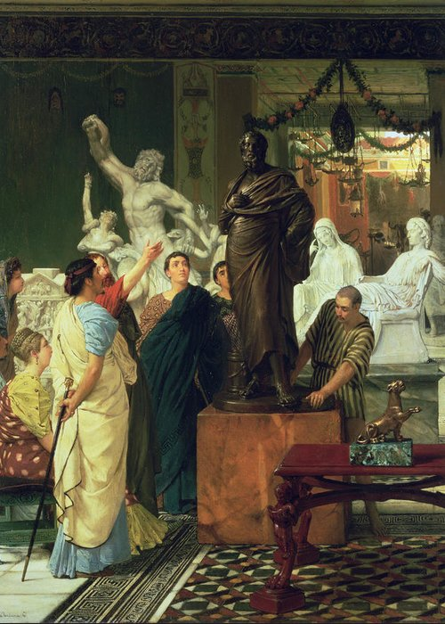 Dealer Greeting Card featuring the painting Dealer In Statues by Sir Lawrence Alma-Tadema