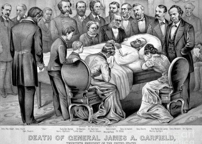 Government Greeting Card featuring the photograph Death Of Garfield, 1881 by Photo Researchers