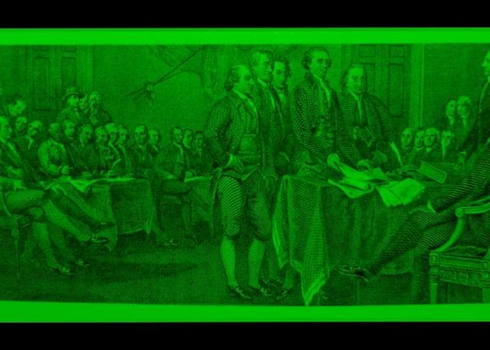 Declaration Of Independence Greeting Card featuring the photograph Declaration Of Independence In Green by Rob Hans
