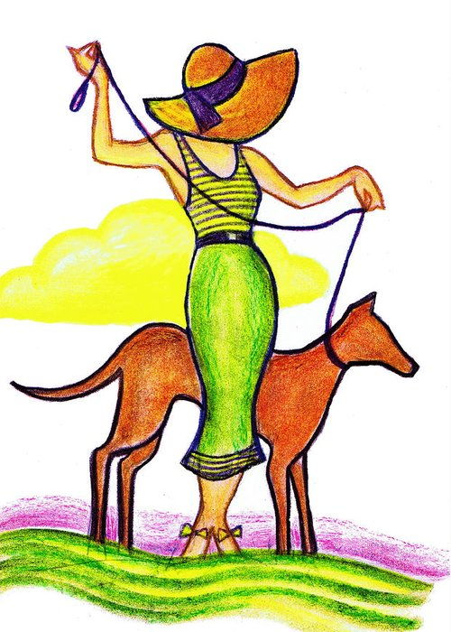 Nostalgia Greeting Card featuring the drawing Deco Dog Walker by Mel Thompson