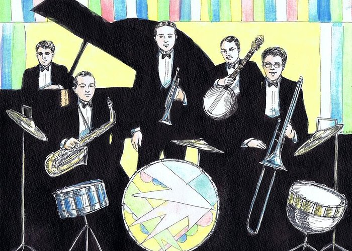 Nostalgia Greeting Card featuring the drawing Deco Drum by Mel Thompson
