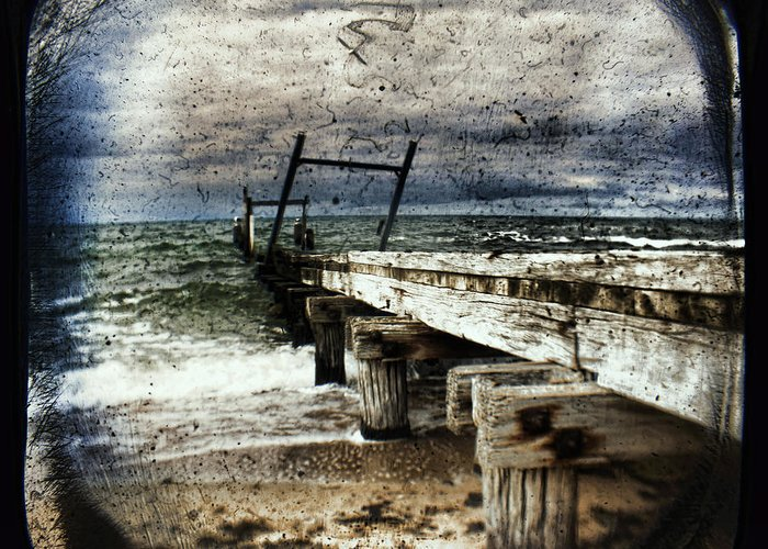 The Old Elwood Pier Greeting Card featuring the photograph Deconstruction by Andrew Paranavitana