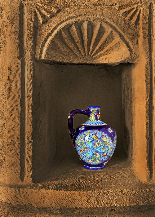 Wine Greeting Card featuring the photograph Decorative Carafe In An Alcove by Kantilal Patel