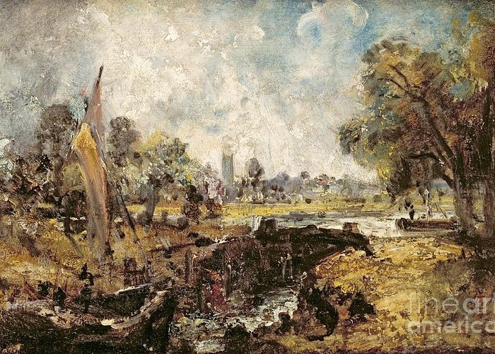 Dedham Greeting Card featuring the painting Dedham Lock by John Constable