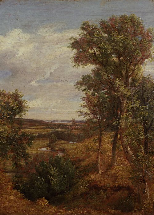 East Anglia; Anglian; Landscape; Rural Greeting Card featuring the painting Dedham Vale by John Constable