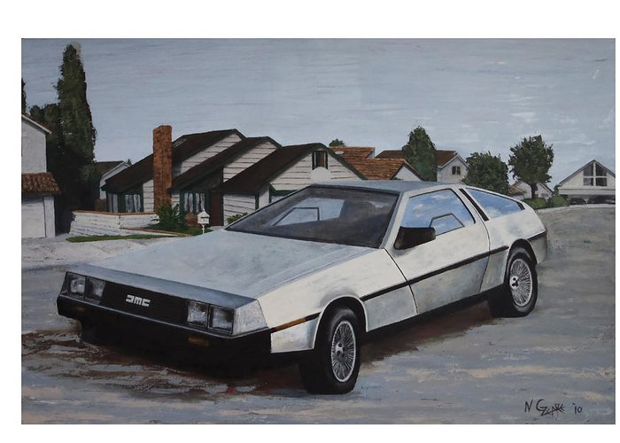 Sports Cars Greeting Card featuring the painting Delorean by Nate Geare