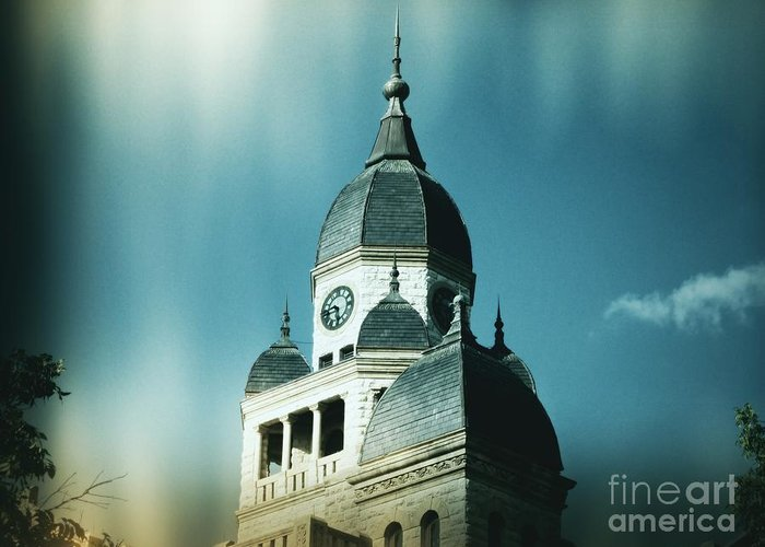 Denton Greeting Card featuring the photograph Denton County Courthouse by Angela Wright