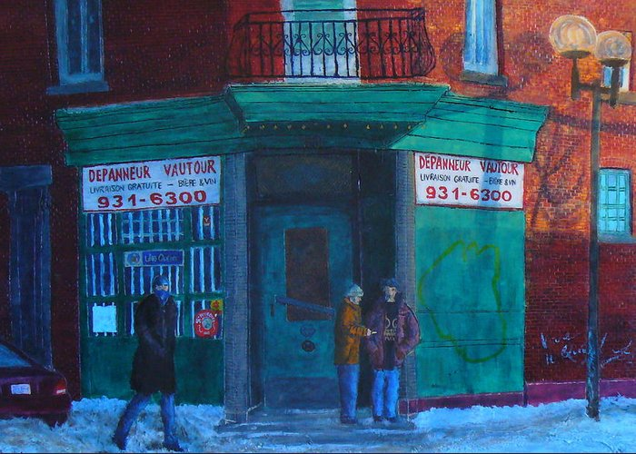 Greeting Card featuring the painting Depanneur Vautour by JE Raddatz