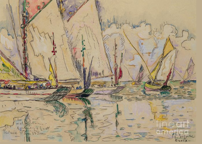 Boat; Ship; Sailing; Fishing; Fish; Tuna; Boats; Leaving; Departure; Groix; La Partance Des Thoniers A Groix; Sea; Water; Seascape; Fishermen Greeting Card featuring the painting Departure Of Tuna Boats At Groix by Paul Signac