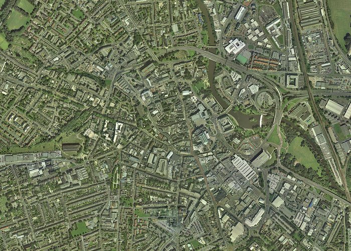 Derwent Greeting Card featuring the photograph Derby, Uk, Aerial Image by Getmapping Plc