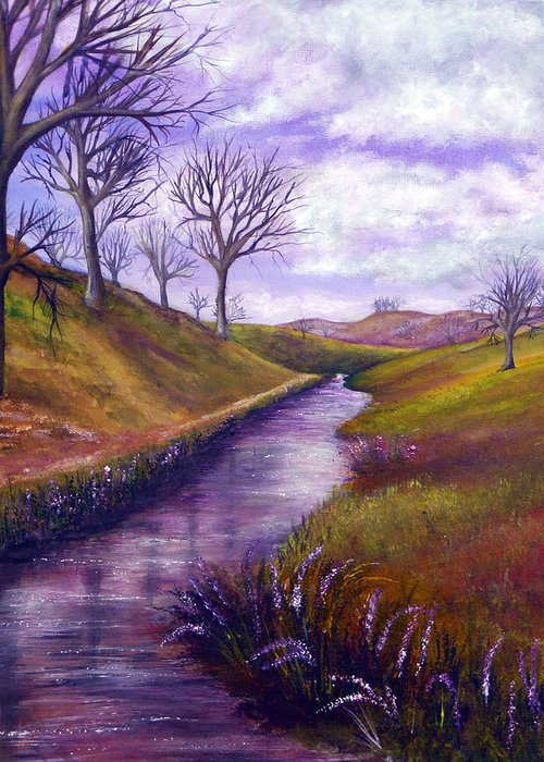 Hand Painted Greeting Card featuring the painting Derbyshire Brook by Ann Marie Bone
