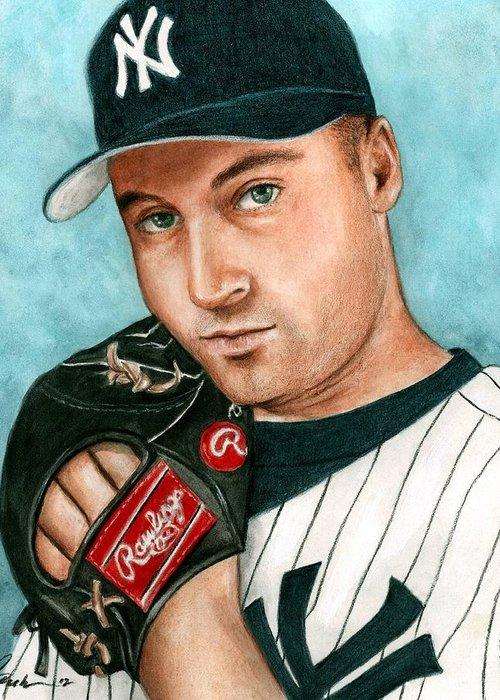 31f2fbdbe Baseball Yankees Derek Jeter Bruce Lennon Portrait Greeting Card featuring  the painting Derek Jeter by Bruce