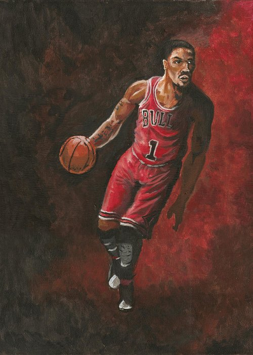 Derrick Rose Greeting Card featuring the painting Derrick Rose by Kerstin Carrion