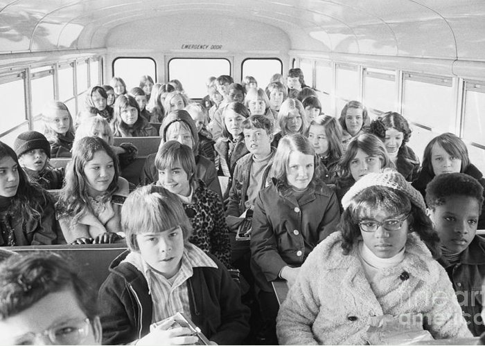 1973 Greeting Card featuring the photograph Desegregation: Busing, 1973 by Granger