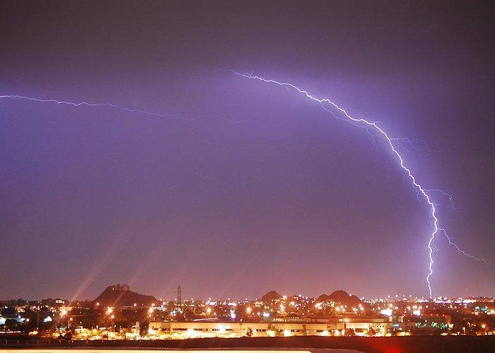 Lightning Greeting Card featuring the photograph Desert Lightning by Jennifer Nixon