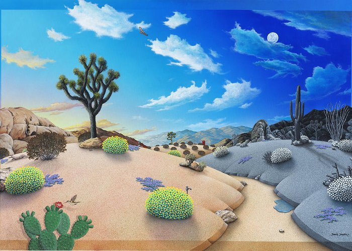 Desert Greeting Card featuring the painting Desert Timeline by Snake Jagger