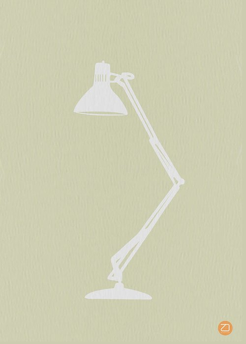 Lamp Greeting Card featuring the digital art Desk Lamp by Naxart Studio