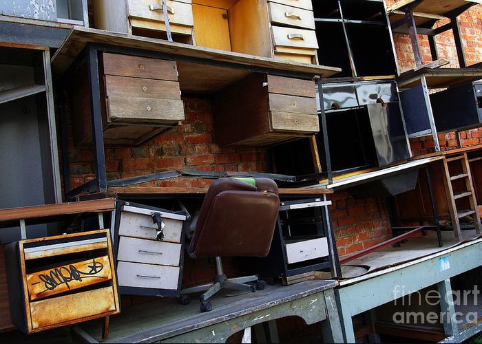 Abandoned Greeting Card featuring the photograph Desk Scrap by Carlos Caetano