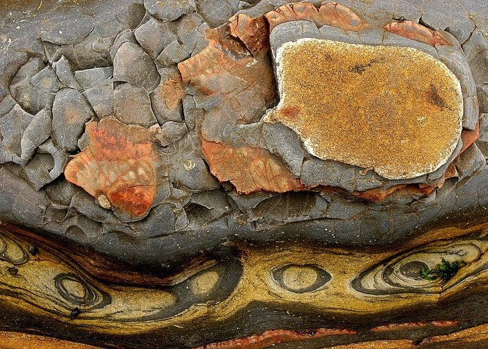 North America Greeting Card featuring the photograph Detail Of Eroded Rocks Swirled by Charles Kogod