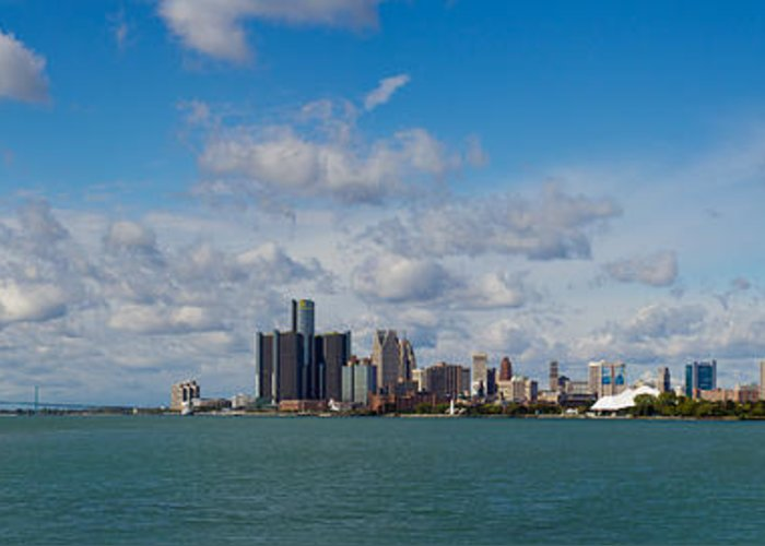 Detroit Greeting Card featuring the photograph Detroit Michigan Skyline by Twenty Two North Photography
