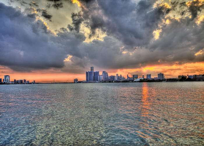 Sunset Greeting Card featuring the photograph Detroit Sunset by Nicholas Grunas