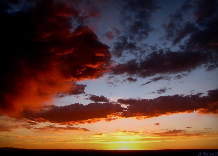 Sandia Heights Greeting Card featuring the photograph Developing Storm At Sunset by Aaron Burrows