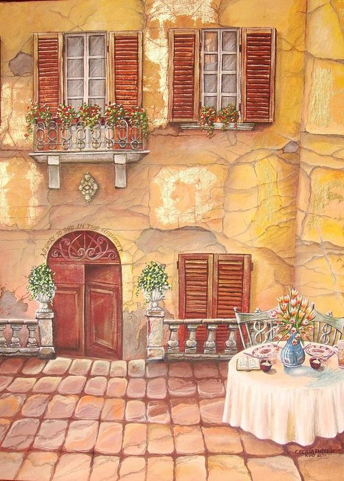 Inviting Lunch Table On A Stone Paved Sidewalk In Tuscany. Steps Leads Down To The Huge Solid Wooden Door Greeting Card featuring the painting Devoted by Cecilia Putter