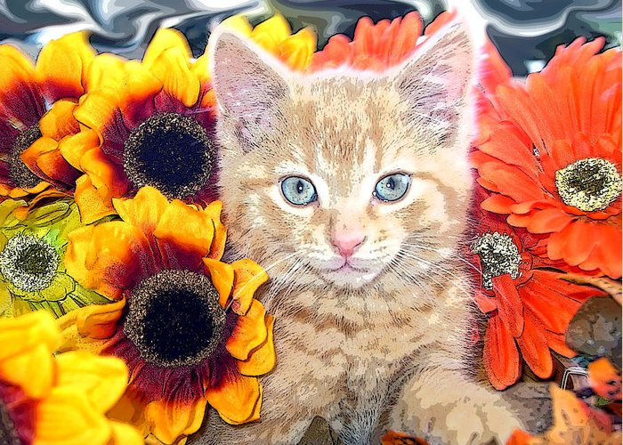 Di Milo Greeting Card featuring the photograph Di Milo - Sun Flower Kitten With Blue Eyes - Kitty Cat In Fall Autumn Colors With Gerbera Flowers by Chantal PhotoPix