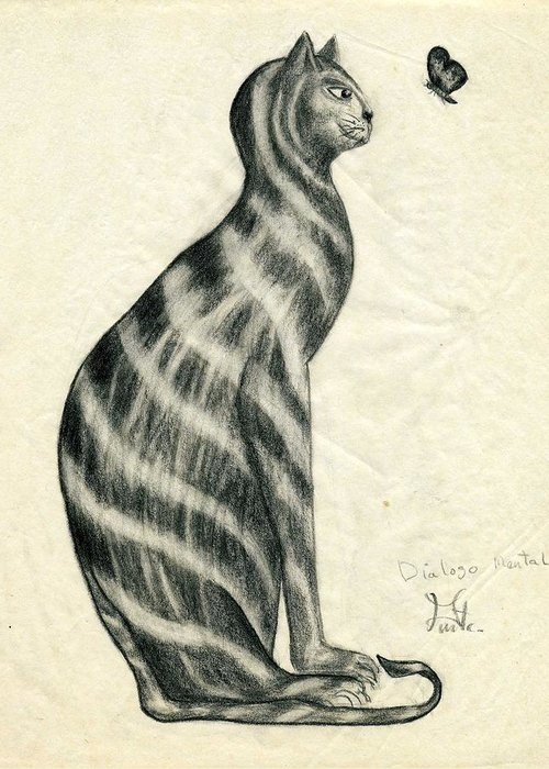 Cat Greeting Card featuring the drawing Dialogo Mental by Puente