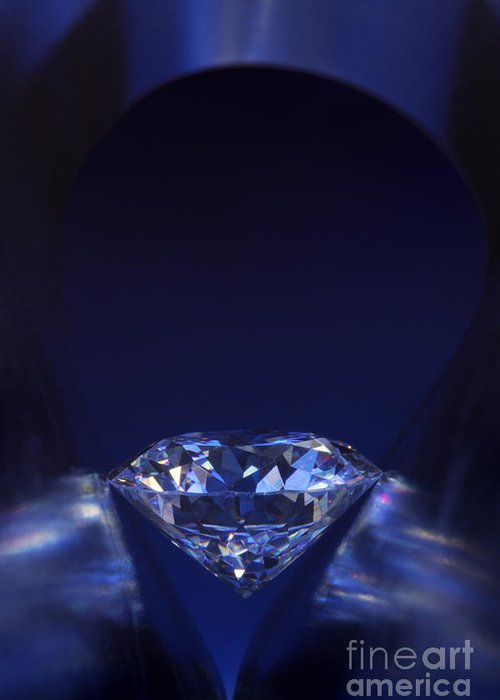 Abundance Greeting Card featuring the jewelry Diamond In Deep-blue Light by Atiketta Sangasaeng