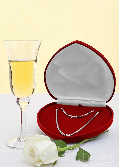 Diamond Greeting Card featuring the photograph Diamond Necklace With Champagne And White Rose. by Richard Thomas