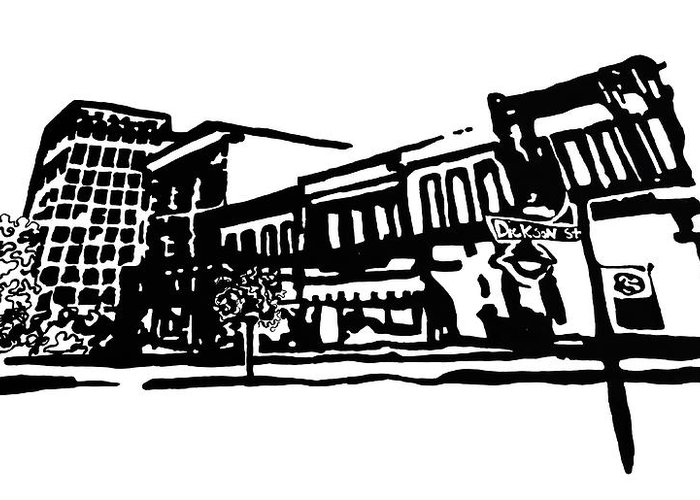Chancellor Greeting Card featuring the painting Dickson Street In Fayetteville Ar by Amanda Sanford