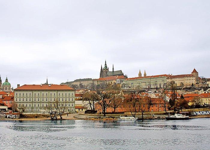 Vltava Greeting Card featuring the photograph Die Moldau - Prague by Christine Till