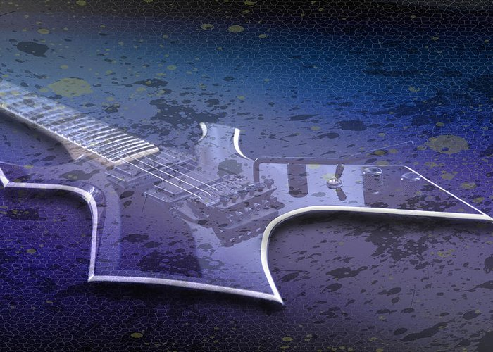 String Greeting Card featuring the photograph Digital-art E-guitar I by Melanie Viola