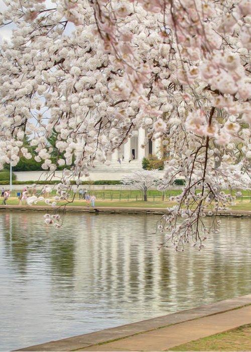 Metro Greeting Card featuring the digital art Digital Liquid - Cherry Blossoms Washington Dc 6 by Metro DC Photography