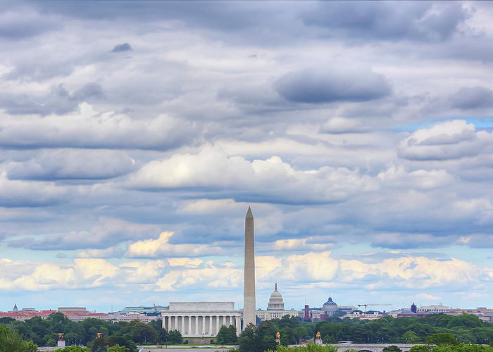 Metro Greeting Card featuring the digital art Digital Liquid - Clouds Over Washington Dc by Metro DC Photography