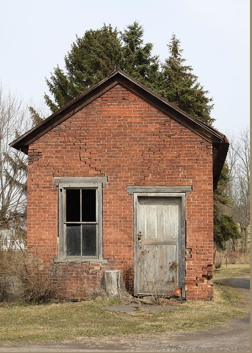 Brick Greeting Card featuring the photograph Dilapidated Old Brick Building by John Stephens