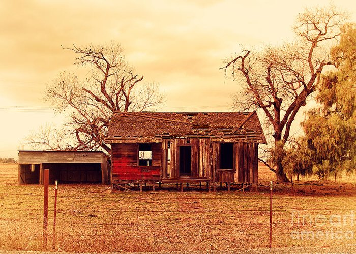 Wingsdomain Greeting Card featuring the photograph Dilapidated Old Farm House . 7d10341 by Wingsdomain Art and Photography