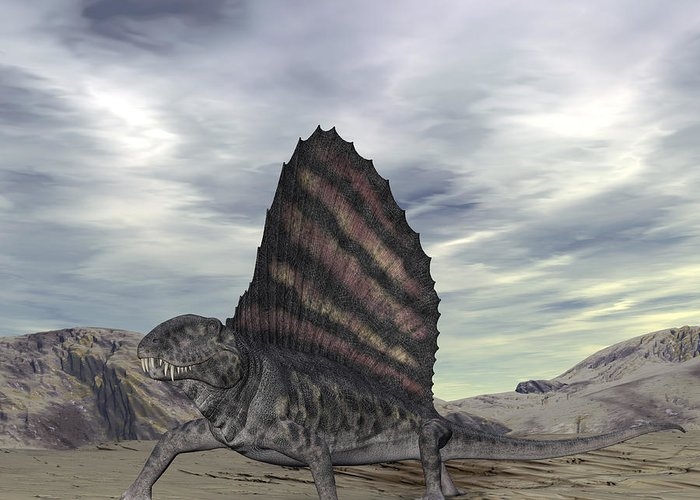 Nature Greeting Card featuring the digital art Dimetrodon Grandis Traverses Earth by Walter Myers