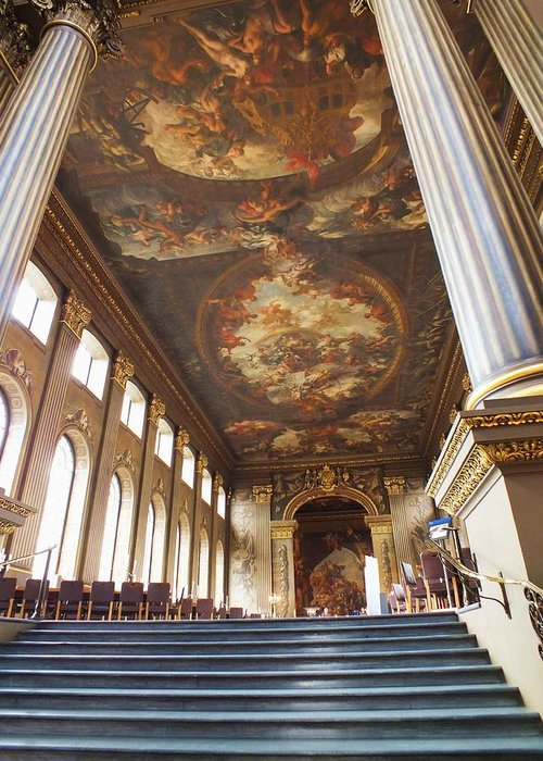 Painted Hall Greeting Card featuring the photograph Dining Hall At Royal Naval College by Anna Villarreal Garbis