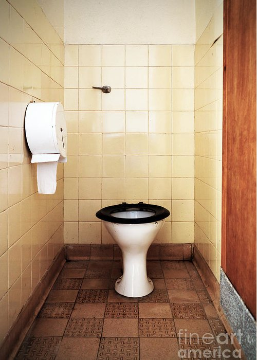 Public Greeting Card featuring the photograph Dirty Public Toilet by Richard Thomas