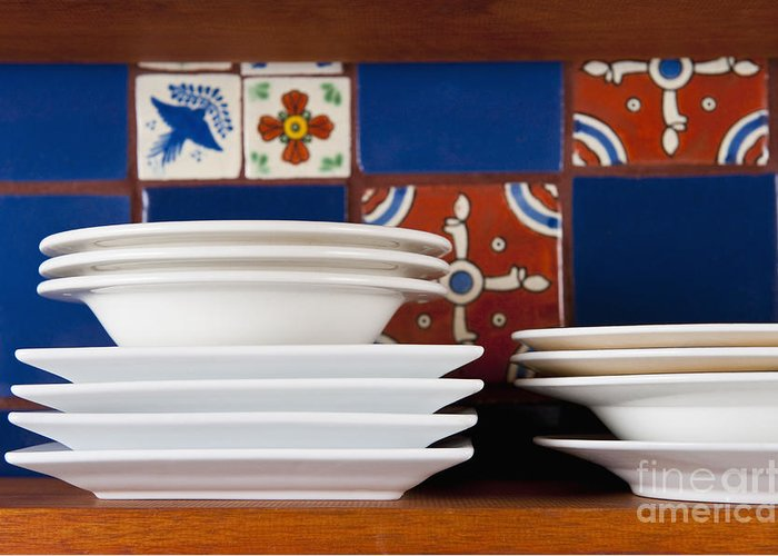Architectural Detail Greeting Card featuring the photograph Dishes In Front Of Colorful Tile by Thom Gourley/Flatbread Images, LLC