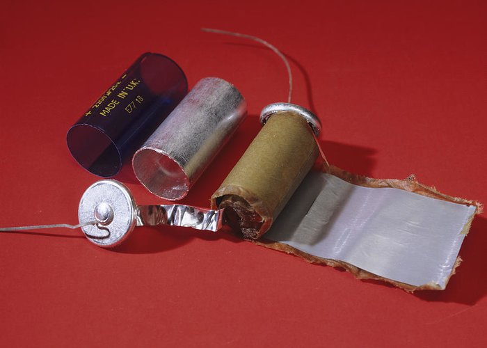 Capacitor Greeting Card featuring the photograph Dismantled Capacitor by Andrew Lambert Photography