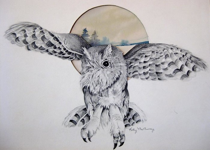 Owl Greeting Card featuring the mixed media Distant Trees by Kathrine McMurray
