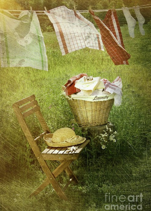 Basket Greeting Card featuring the photograph Distressed Photo Of Wash Day by Sandra Cunningham