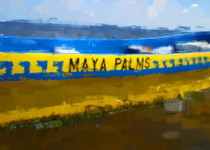 Maya Palms Dive Boat Yellow Blue Costa Maya Greeting Card featuring the digital art Dive Boat by Geoff Strehlow